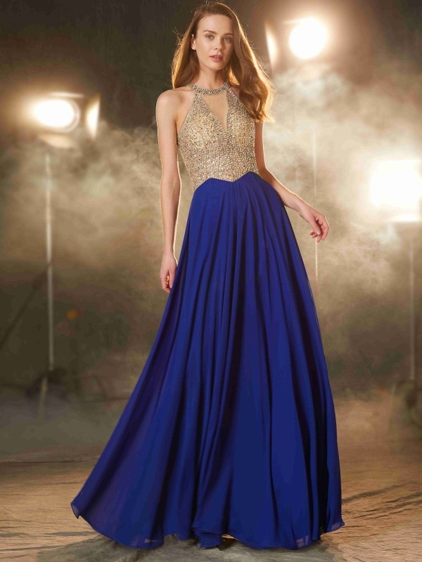 Chiffon Scoop Floor-Length Royal Blue Prom Dresses