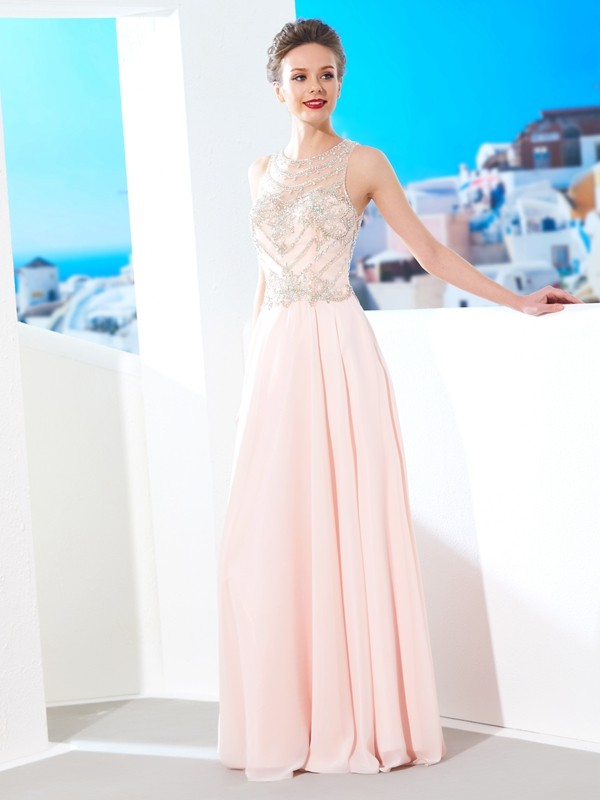 A-Line Scoop Floor-Length Pearl Pink Prom Dresses with Crystal