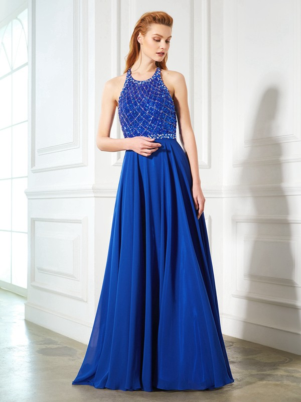 Brush Train Royal Blue Jewel Prom Dresses with Beading
