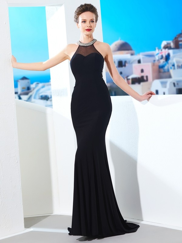Sheath Jewel Brush Train Black Prom Dresses