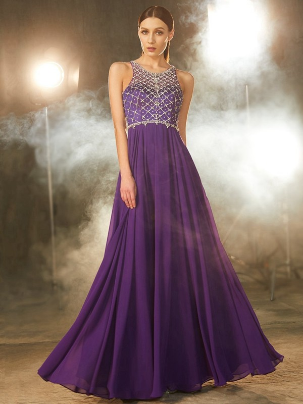 Chiffon Scoop Floor-Length Grape Prom Dresses