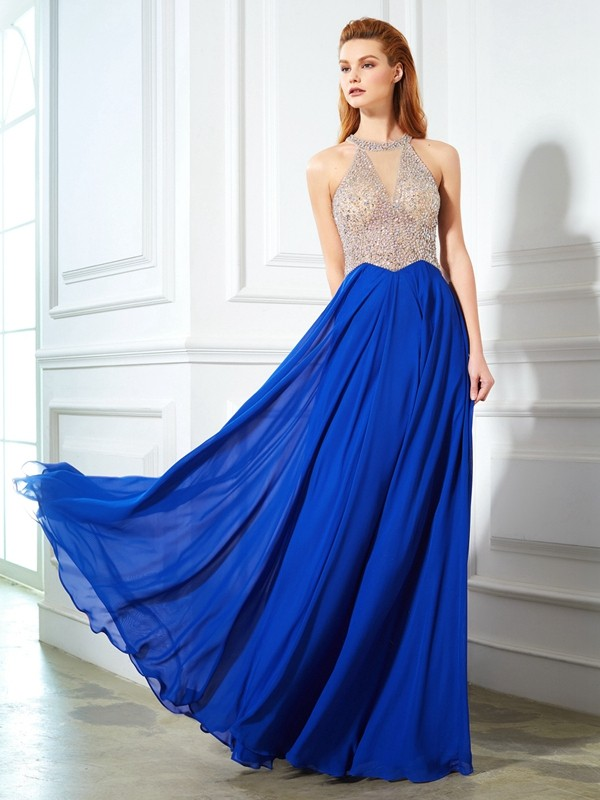 Royal Blue Scoop Chiffon Floor-Length Prom Dresses