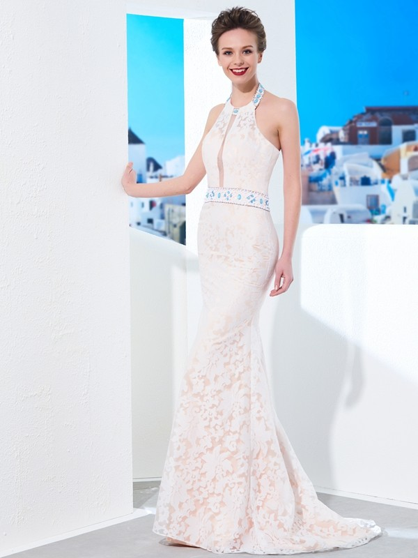 Sheath Halter Floor-Length Ivory Prom Dresses with Lace
