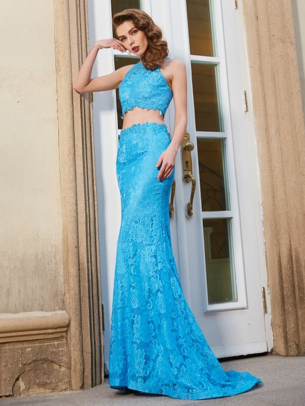 Lace Scoop Brush Train Blue Prom Dresses