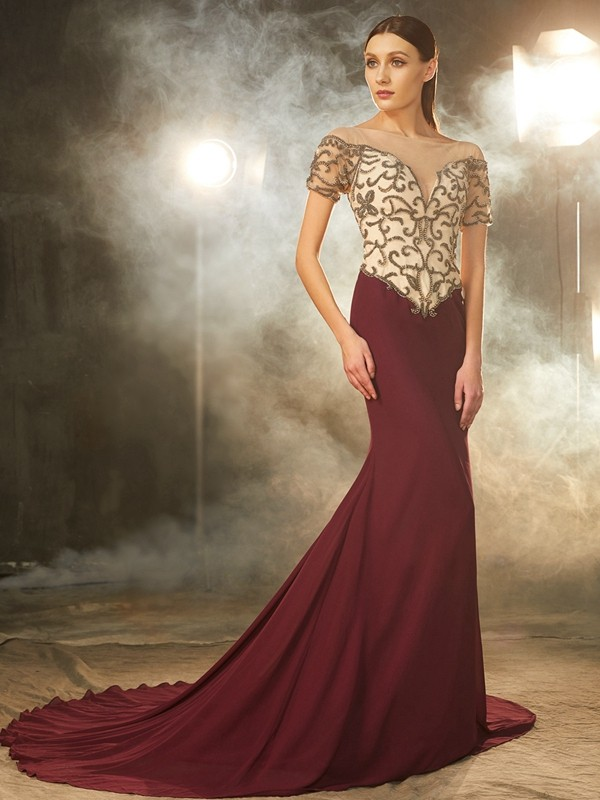 Sheath Sheer Neck Court Train Burgundy Prom Dresses with Beading