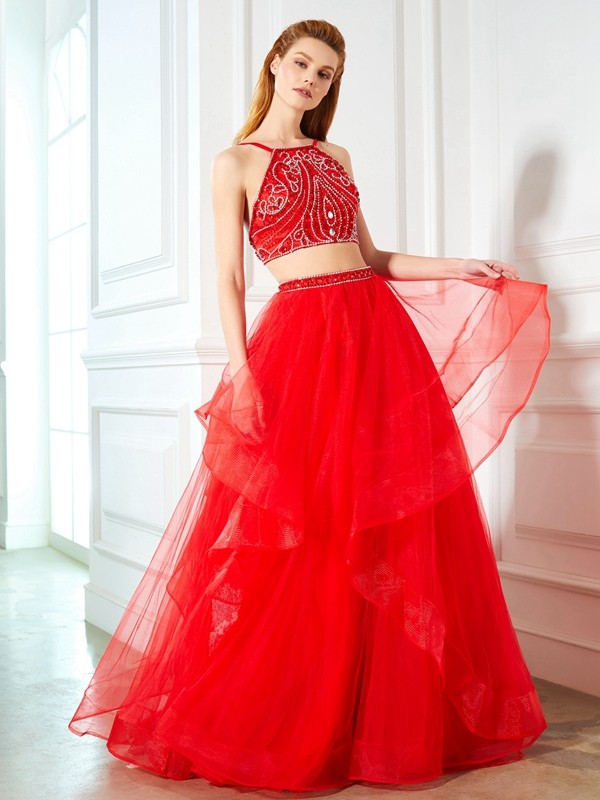 A-Line Tulle Spaghetti Straps Floor-Length Prom Dresses with Beading