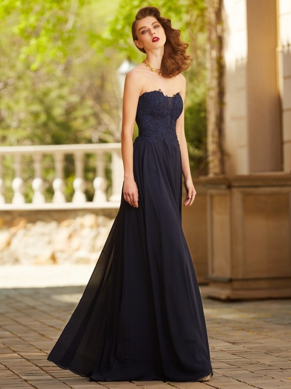 Dark Navy Sweetheart Chiffon Floor-Length Prom Dresses