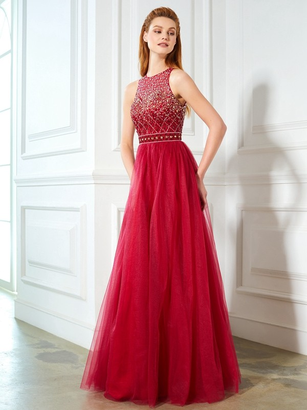 A-Line Scoop Floor-Length Burgundy Prom Dresses