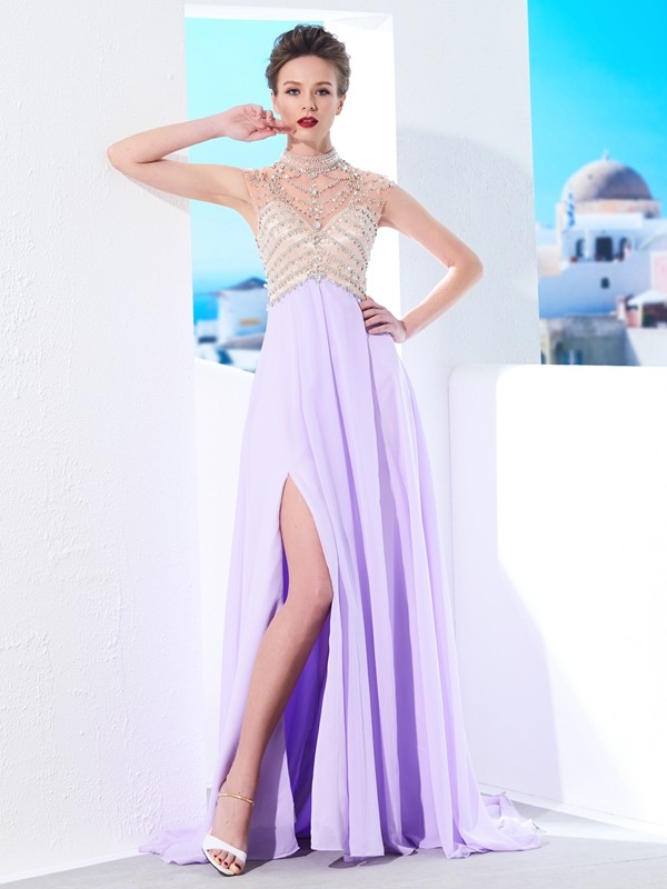 A-Line High Neck Brush Train Lilac Prom Dresses
