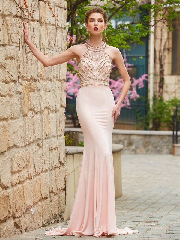 Pearl Pink Sheath Scoop Brush Train Prom Dresses with Beading
