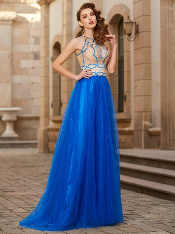 Tulle Jewel Floor-Length Royal Blue Prom Dresses