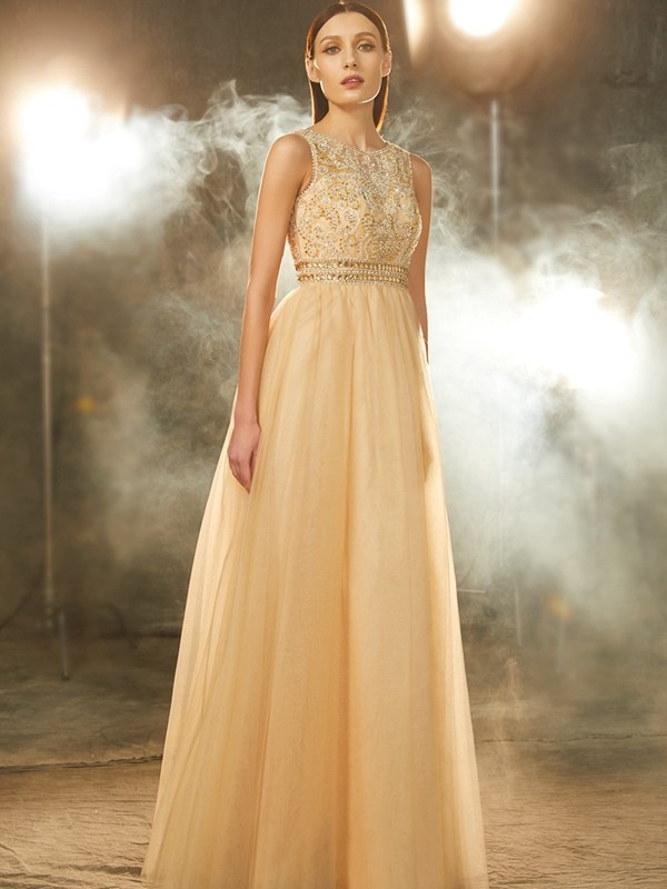 A-Line Tulle Scoop Floor-Length Prom Dresses with Beading