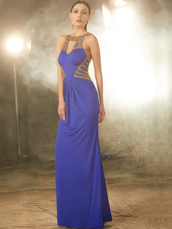 Floor-Length Royal Blue Scoop Prom Dresses with Beading