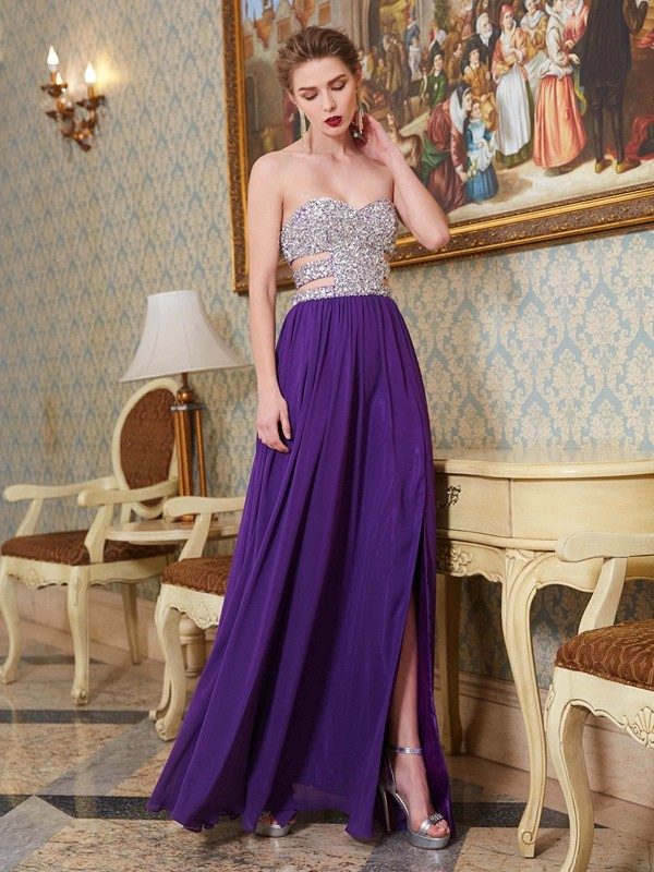 Floor-Length Regency Sweetheart Prom Dresses with Crystal