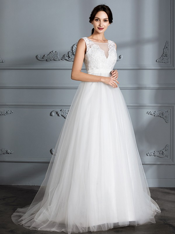 Ivory V-neck Tulle Brush Train Wedding Dresses