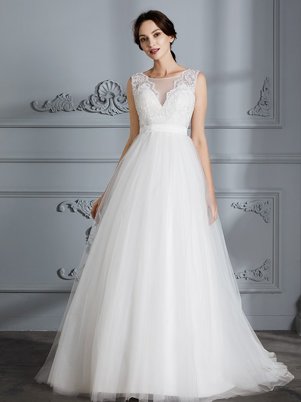 A-Line/Princess Sleeveless V-neck Sweep/Brush Train Tulle Wedding Dresses
