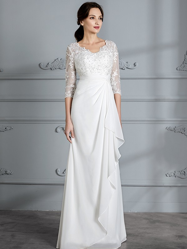 Sheath/Column V-neck 3/4 Sleeves Chiffon Floor-Length Wedding Dresses