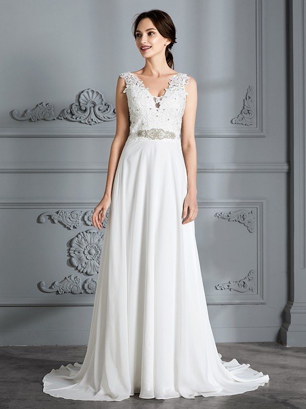 A-Line Chiffon V-neck Brush Train Wedding Dresses