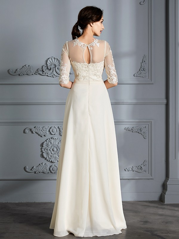 A-Line/Princess Scoop 1/2 Sleeves Floor-Length Chiffon Wedding Dresses