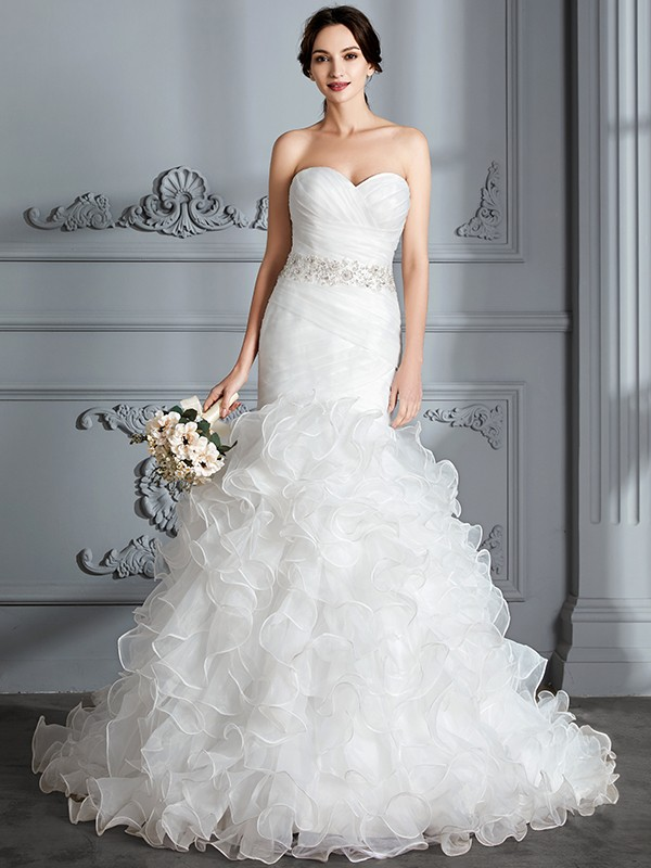 Mermaid Sweetheart Brush Train Ivory Wedding Dresses