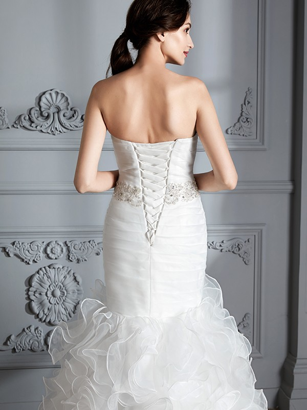 Trumpet/Mermaid Sweetheart Sleeveless Ruffle Sweep/Brush Train Satin Wedding Dresses