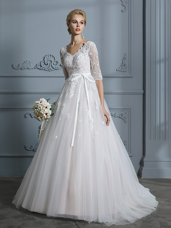 Ball Gown Half Sleeves V-neck Court Train Ivory Wedding Dresses