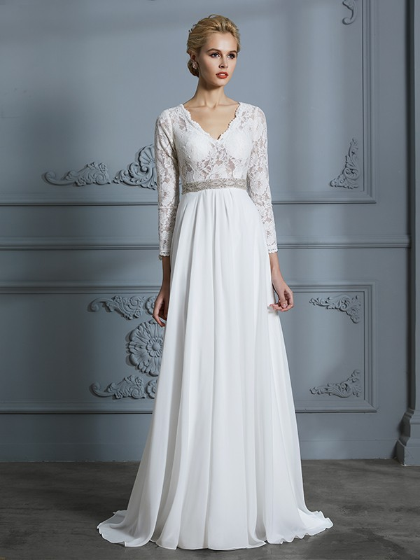 A-Line Chiffon 3/4 Sleeves V-neck Brush Train Ivory Wedding Dresses