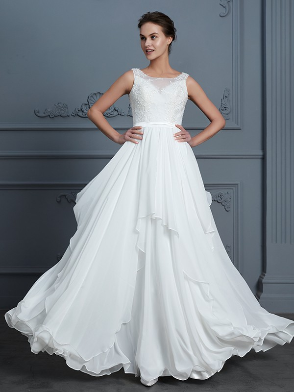 A-Line/Princess Scoop Sleeveless Ruffles Floor-Length Chiffon Wedding Dresses