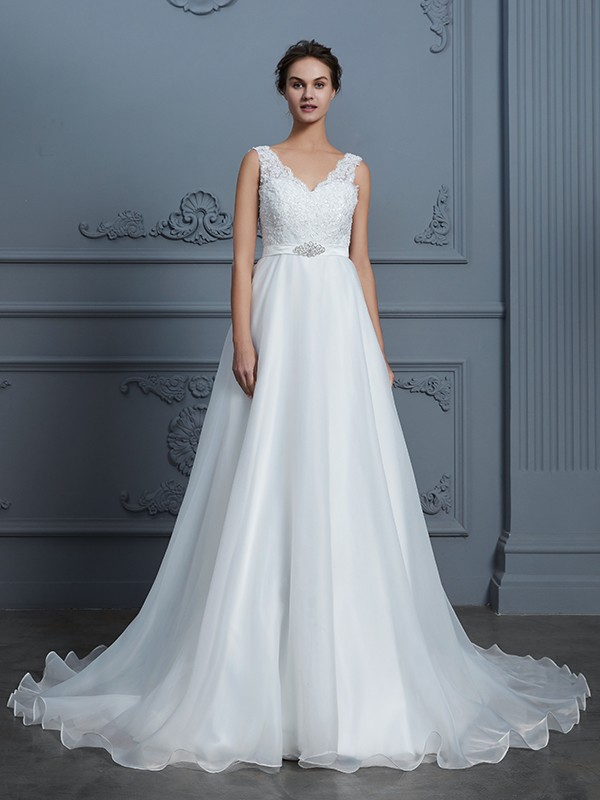 A-Line/Princess V-neck Sleeveless Floor-Length Lace Chiffon Wedding Dresses