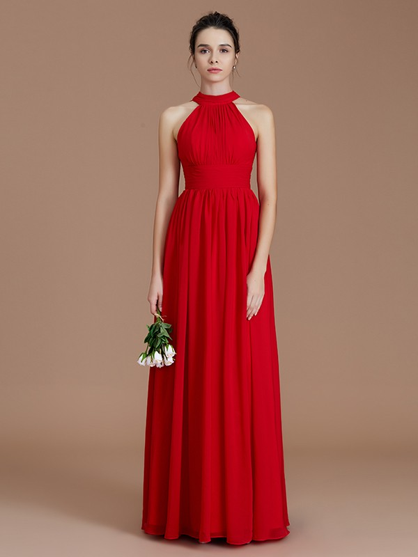 A-Line/Princess Halter Sleeveless Ruched Floor-Length Chiffon Bridesmaid Dresses