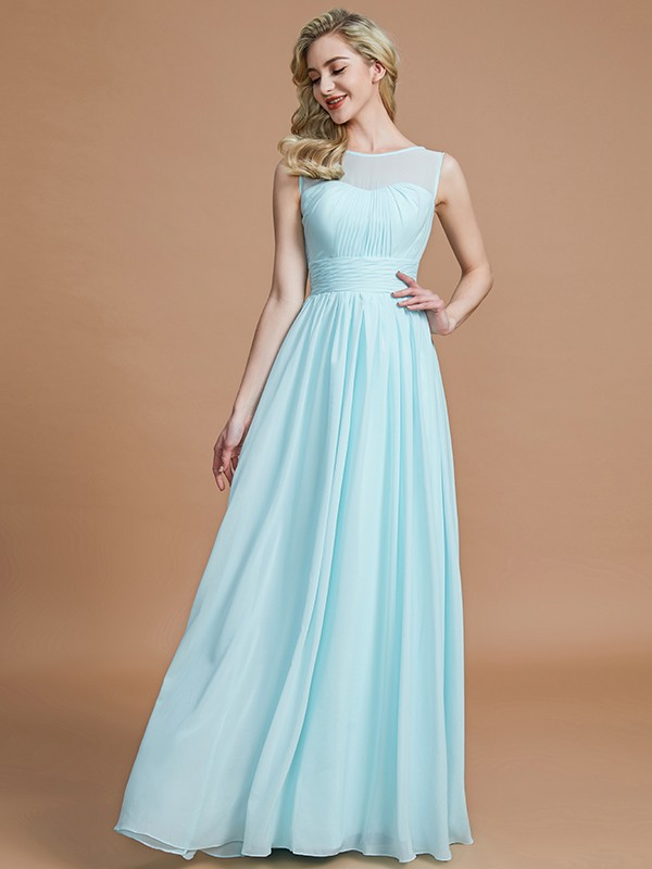 Light Sky Blue A-Line Scoop Floor-Length Bridesmaid Dresses