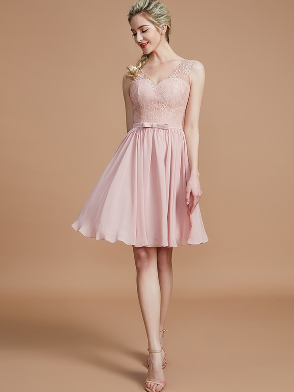 A-Line V-neck Short/Mini Pearl Pink Bridesmaid Dresses