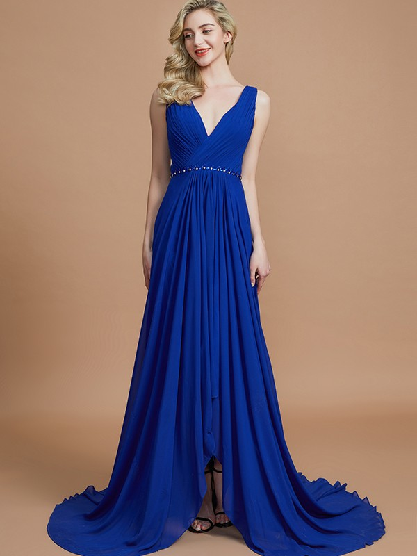 A-Line V-neck Brush Train Royal Blue Bridesmaid Dresses