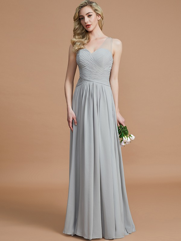 A-Line Chiffon V-neck Floor-Length Silver Bridesmaid Dresses
