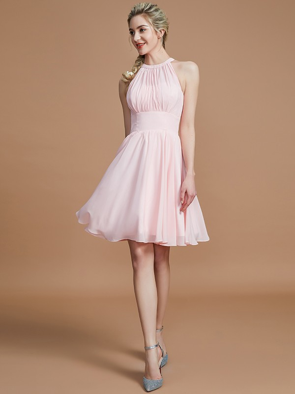 Chiffon Scoop Knee-Length Pink Bridesmaid Dresses