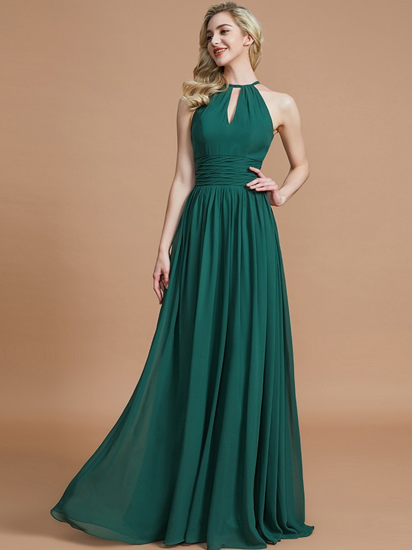 A-Line Scoop Floor-Length Dark Green Bridesmaid Dresses