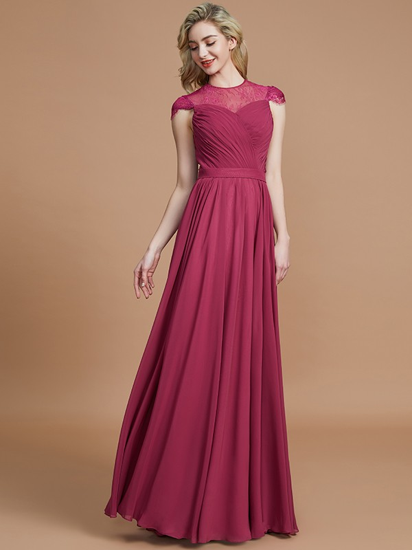 A-Line Scoop Floor-Length Burgundy Bridesmaid Dresses