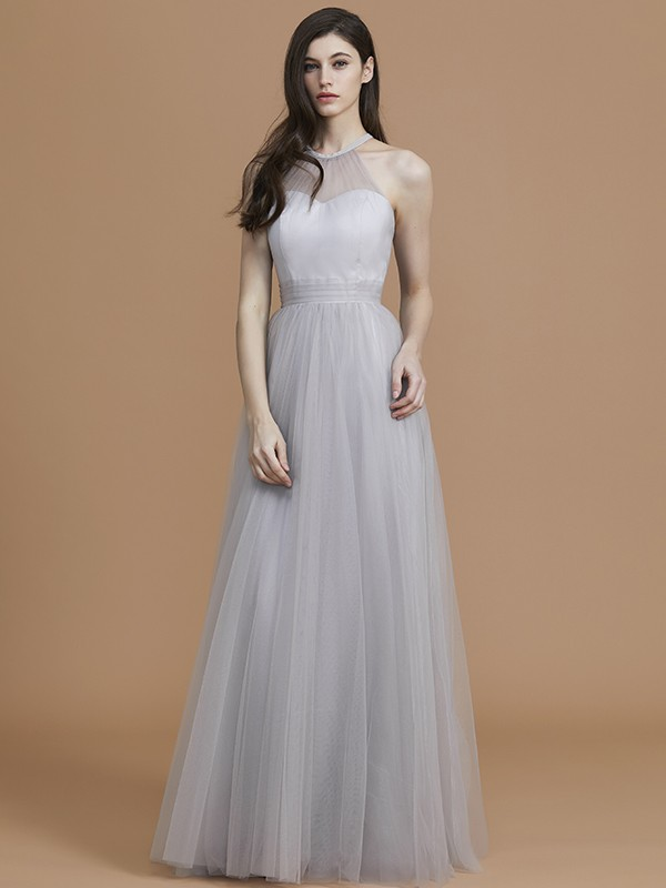 A Line Tulle Halter Floor Length Silver Bridesmaid Dresses
