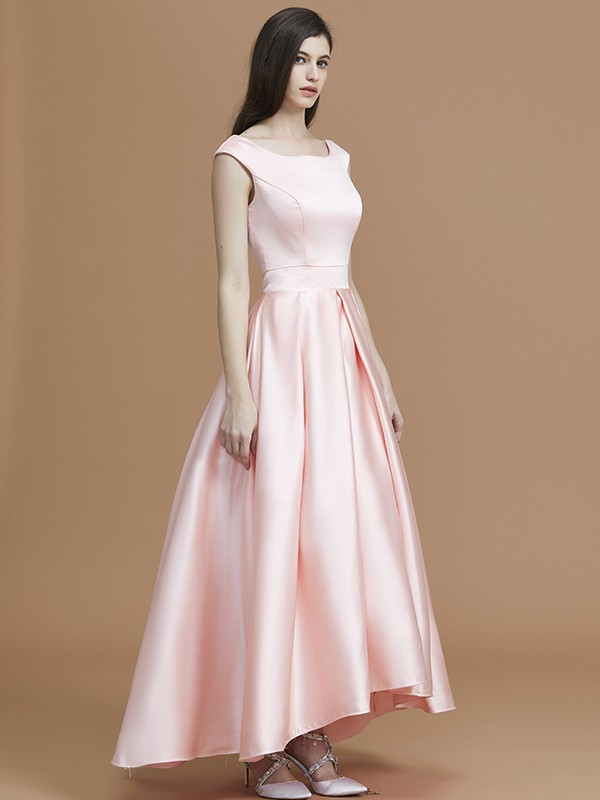 A-Line/Princess Bateau Sleeveless Asymmetrical Ruffles Satin Bridesmaid Dresses