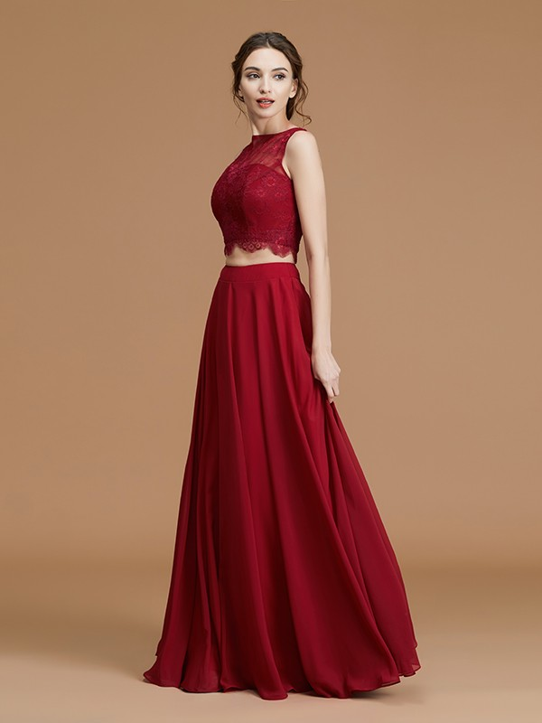 A-Line Bateau Floor-Length Burgundy Bridesmaid Dresses