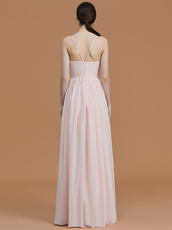 A-Line/Princess Spaghetti Straps Sleeveless Floor-Length Ruched Chiffon Bridesmaid Dresses