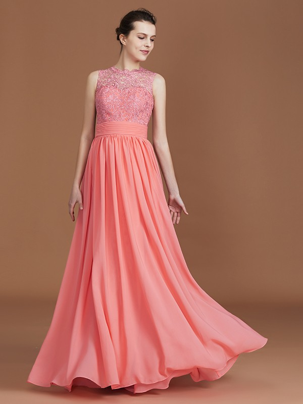 Jewel Floor-Length Watermelon Bridesmaid Dresses with Lace