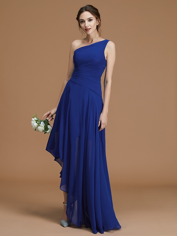 One-Shoulder Asymmetrical Royal Blue Bridesmaid Dresses with Ruffles