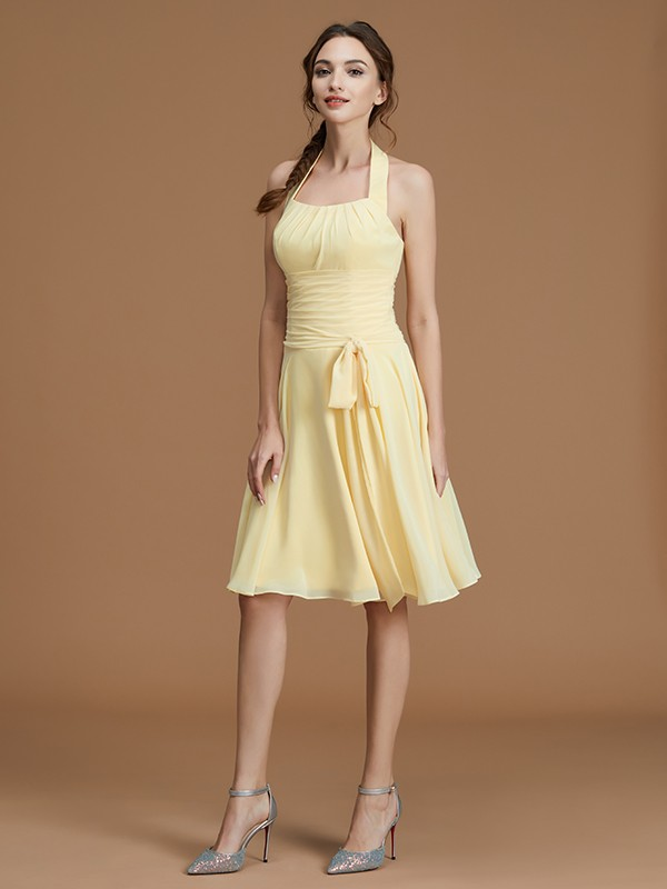 Chiffon Halter Short/Mini Daffodil Bridesmaid Dresses