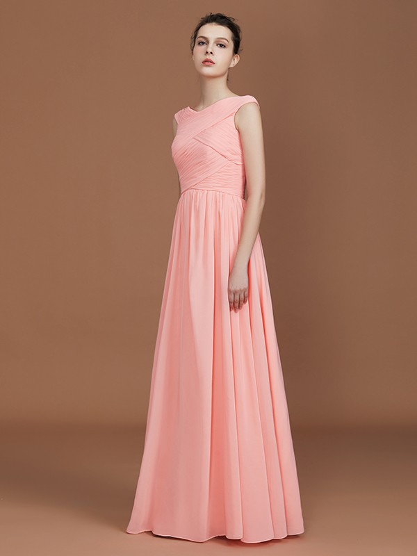 A-Line Chiffon V-neck Floor-Length Bridesmaid Dresses with Ruffles