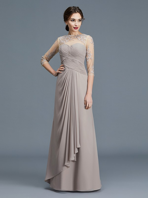 872846af0c6 Sheer Neck Floor-Length Silver Mother of the Bride Dresses with Ruffles ...
