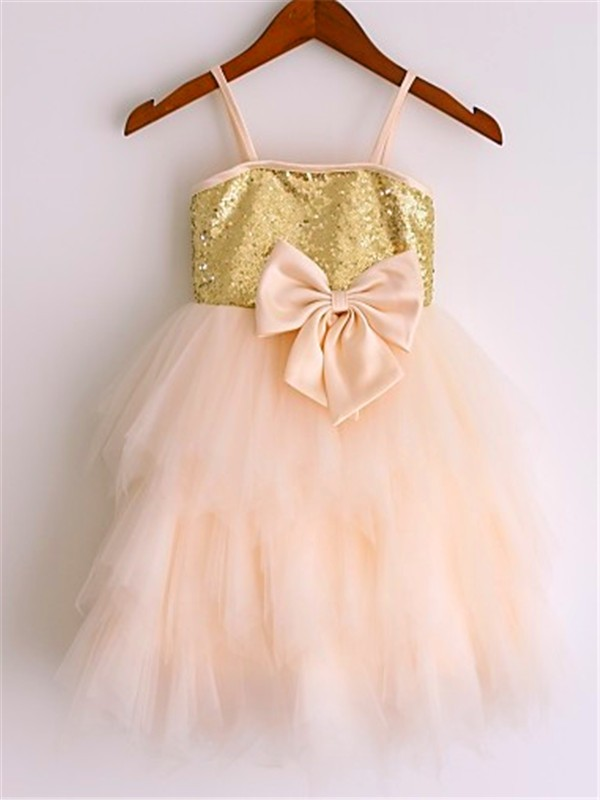 Net A-Line Tea-Length Spaghetti Straps Pearl Pink Flower Girl Dresses