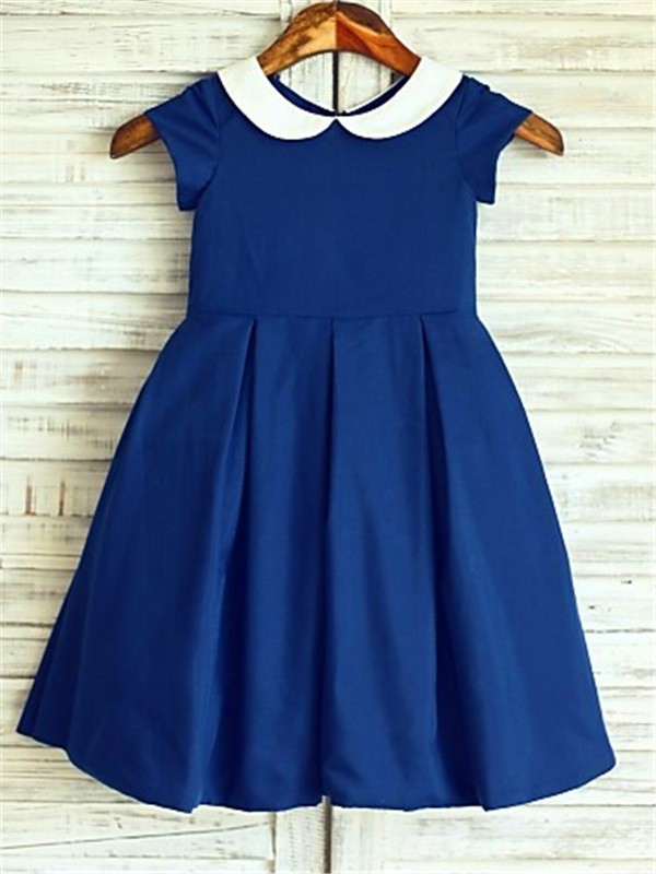 Chiffon Scoop Tea-Length Dark Navy Flower Girl Dresses