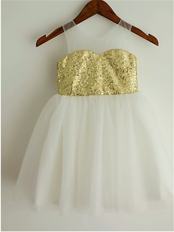 A-Line Tulle Scoop Tea-Length Flower Girl Dresses with Sequin