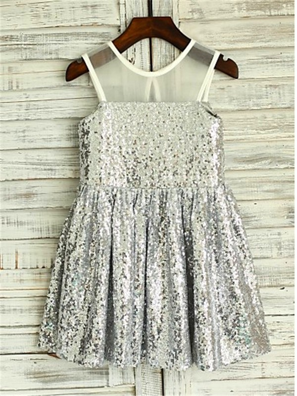 Silver A-Line Scoop Tea-Length Flower Girl Dresses with Sequin